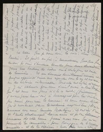 Lettre de Pascale Olivier à Louisa Paulin, le 27 juillet 1939