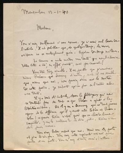 Lettre de Paul Rolland à Louisa Paulin, le 13 janvier 1940