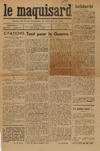 Maquisard : journal des Forces françaises de l'intérieur du Tarn (Le), n°12, 13 janvier 1945