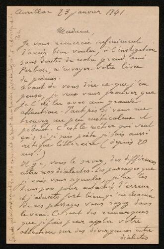 Lettre de C. Gandilhon à Louisa Paulin, le 23 janvier 1941