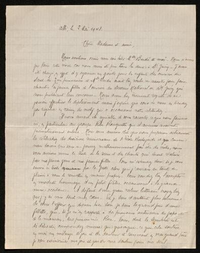 Lettre de Norbert Rouquette à Louisa Paulin, le 2 mai 1943