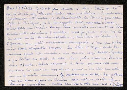 Lettre de G. Labey à Louisa Paulin, le 23 décembre 1941