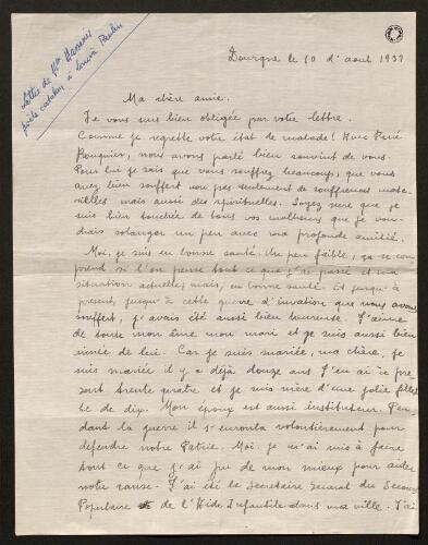 Lettre d'Asunción Massanès à Louisa Paulin, le 10 août 1939