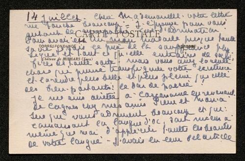 Lettre de Claire Charles-Géniaux à Louisa Paulin, le 14 juillet