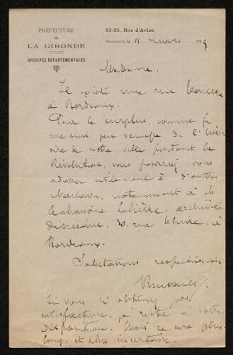 Lettre de Jean-Auguste Brutails à Louisa Paulin, le 11 … 1925