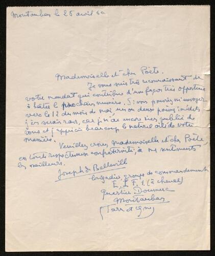 Lettre de Joseph de Belleville à Louisa Paulin, le 25 avril 1940