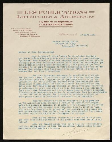 Lettre des Publications littéraires & artistiques à Louisa Paulin, le 17 mars 1928
