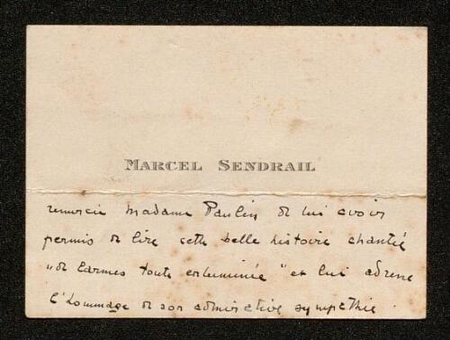 Lettre de Marcel Sendrail à Louisa Paulin