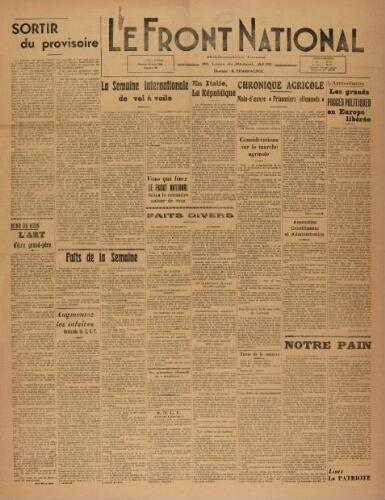 F.N. : hebdomadaire du Front national du Tarn, n°93, 15 juin 1946