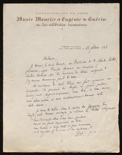 Lettre de Jean Calvet à Louisa Paulin, le 28 février 1943
