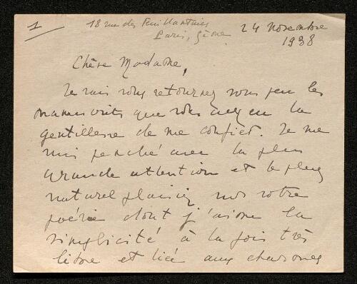 Lettre de Philippe Chabaneix à Louisa Paulin, le 24 novembre 1938