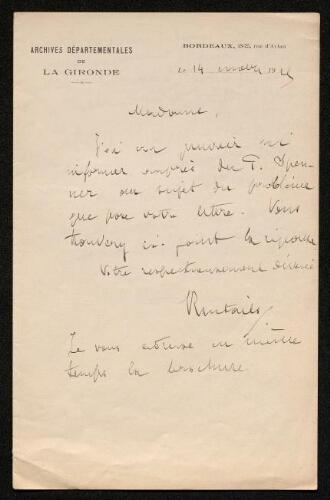 Lettre de Jean-Auguste Brutails à Louisa Paulin, le 14 … 1925