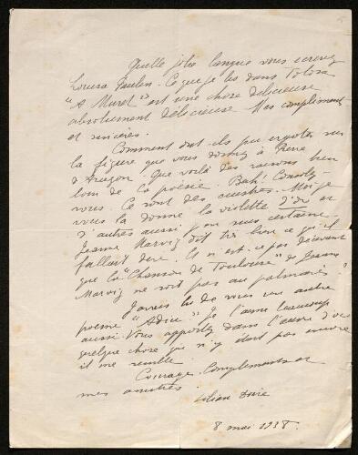 Lettre de Lilian Doire à Louisa Paulin, le 8 mai 1938