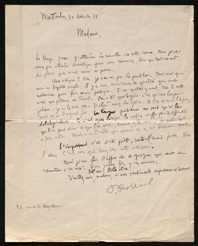 Lettre de Paul Rolland à Louisa Paulin, le 30 décembre 1938