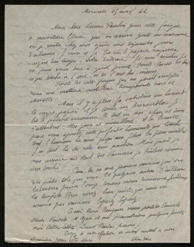 Lettre de Lilian Doire à Louisa Paulin, le 29 avril 1942