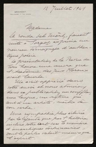 Lettre de Louis Théron de Montaugé à Louisa Paulin, le 12 juillet 1941