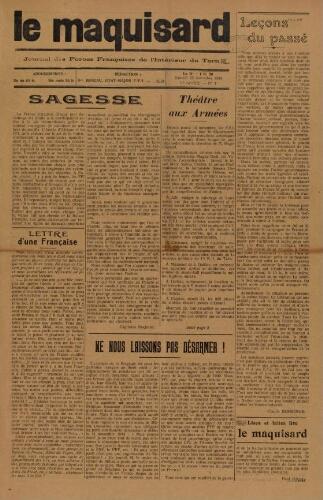 Maquisard : journal des Forces françaises de l'intérieur du Tarn (Le), n°7, 25 novembre 1944