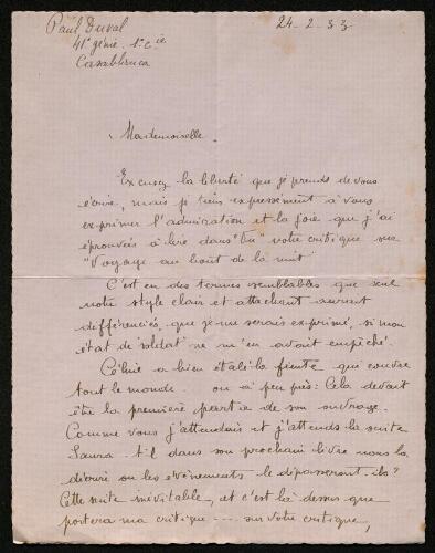 Lettre de Paul Duval à Louisa Paulin, le 24 février 1933