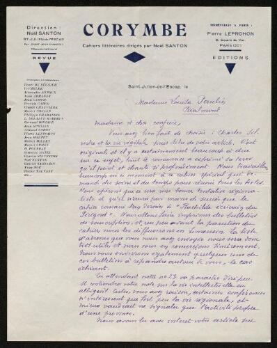 Lettre de Corymbe à Louisa Paulin, 1935