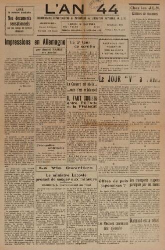 An 44 : organe départemental du mouvement de libération nationale (L'), n°26, 19 mai 1945
