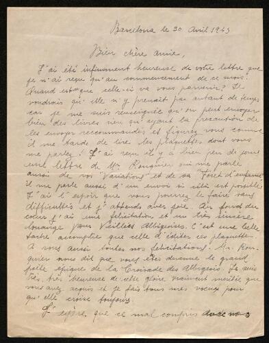 Lettre d'Asunción Massanès à Louisa Paulin, le 30 avril 1943