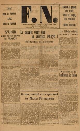 F.N. : hebdomadaire du Front national du Tarn, n°3, 16 septembre 1944