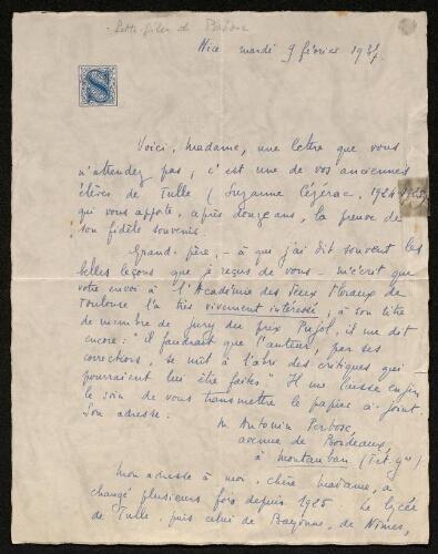 Lettre de Suzanne Donnadieu à Louisa Paulin, le 9 février 1937