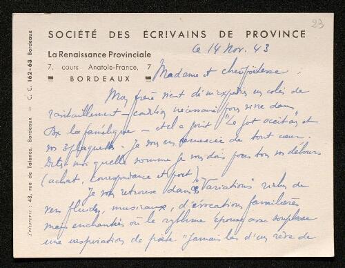 Lettre de la Renaissance Provinciale à Louisa Paulin, le 14 novembre 1943