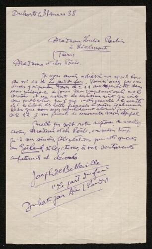 Lettre de Joseph de Belleville à Louisa Paulin, le 31 mars 1938