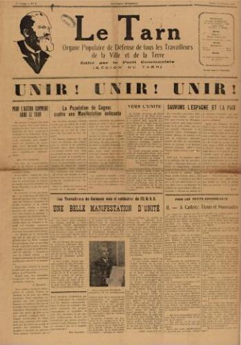 Tarn : Organe populaire de défense des ouvriers, paysans, artisans et petits commerçants (Le), n°6, 13 février 1937