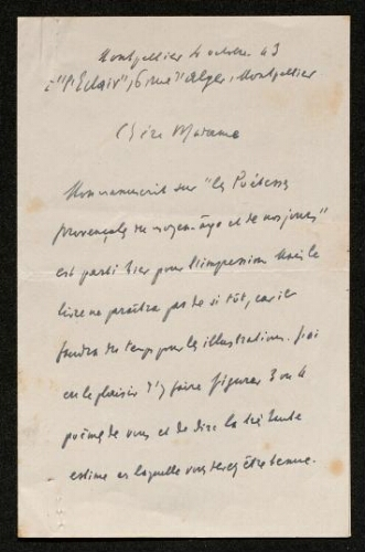 Lettre de Jules Véran à Louisa Paulin, le 4 octobre 1943