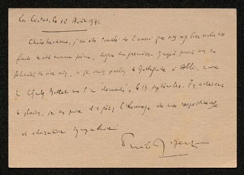 Lettre d'Emile Ripert à Louisa Paulin, le 12 août 1941