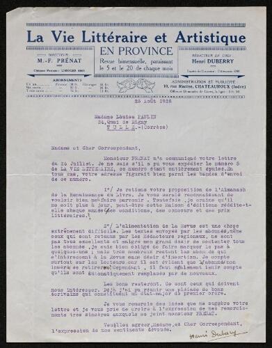 Lettre d'Henri Duberry (pour La Vie artistique et littéraire en province) à Louisa Paulin, le 23 août 1928
