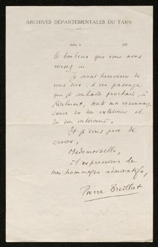 Lettre de Pierre Breillat à Louisa Paulin
