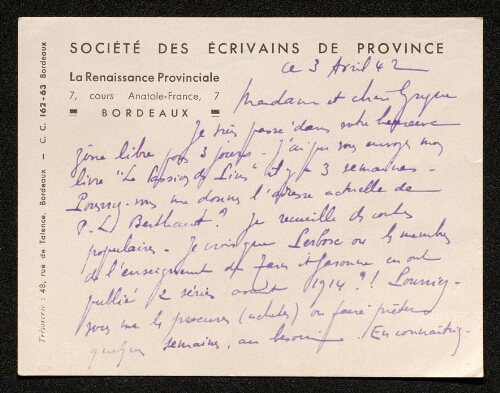 Lettre de la Renaissance Provinciale à Louisa Paulin, le 3 avril 1942