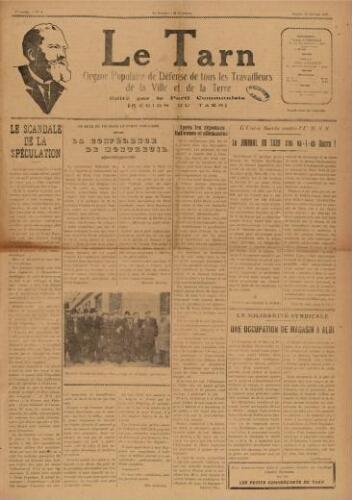 Tarn : Organe populaire de défense des ouvriers, paysans, artisans et petits commerçants (Le), n°4, 30 janvier 1937