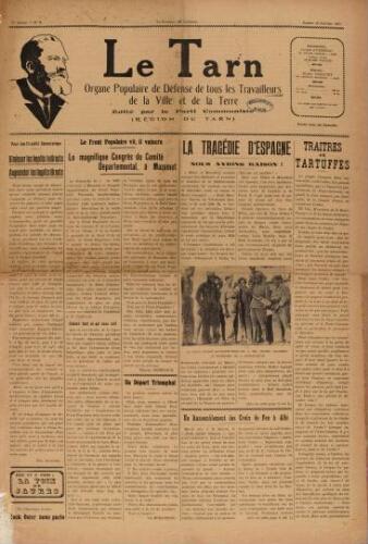 Tarn : Organe populaire de défense des ouvriers, paysans, artisans et petits commerçants (Le), n°2, 16 janvier 1937
