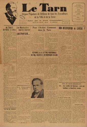 Tarn : Organe populaire de défense des ouvriers, paysans, artisans et petits commerçants (Le), n°7, 20 février 1937