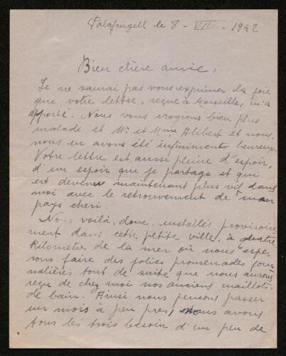 Lettre d'Asunción Massanès à Louisa Paulin, le 8 juillet 1942