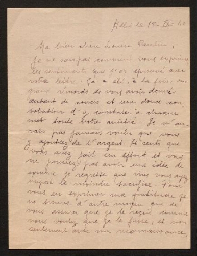 Lettre d'Asunción Massanès à Louisa Paulin, le 15 septembre 1940