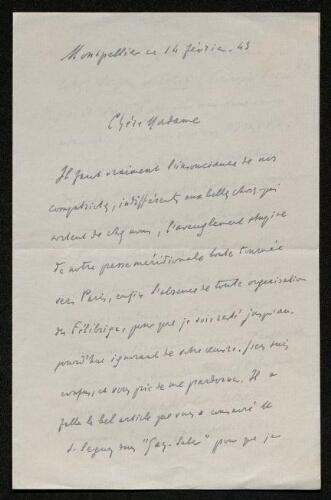 Lettre de Jules Véran à Louisa Paulin, le 14 février 1943