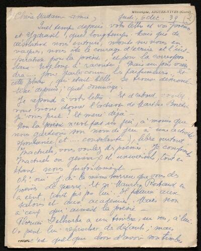 Lettre d'Amy Sylvel à Louisa Paulin, le 6 décembre 1939