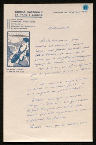 Lettre de Pierre Gardes à Louisa Paulin, le 31 mars 1944