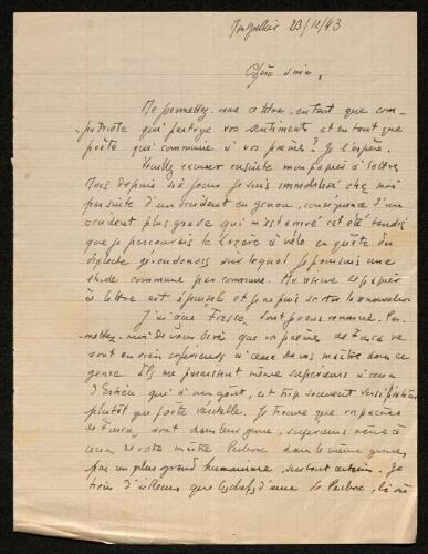 Lettre de Charles Camproux à Louisa Paulin, le 23 décembre 1943