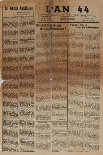 An 44 : organe départemental du mouvement de libération nationale (L'), n°31, 23 juin 1945