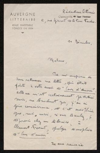 Lettre de L'Auvergne littéraire à Louisa Paulin, le 11 décembre 1943