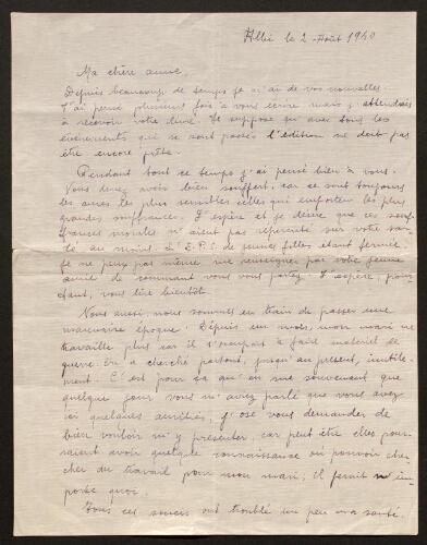 Lettre d'Asunción Massanès à Louisa Paulin, le 2 août 1940