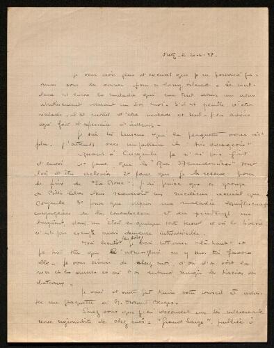 Lettre de Mio van Looberghe à Louisa Paulin, le 20 mars 1938