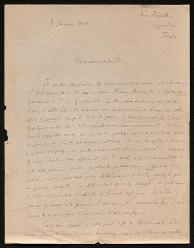 Lettre de Jean Vinciguerra à Louisa Paulin, le 8 janvier 1944