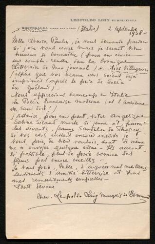 Lettre de Leopoldo Lioy à Louisa Paulin, le 2 septembre 1938